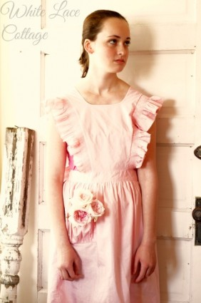 vintage pink cleaning apron