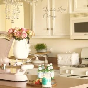 vintage pink scale farmhouse kitchen white lace cottage