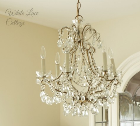 white lace cottage french chandelier dining room