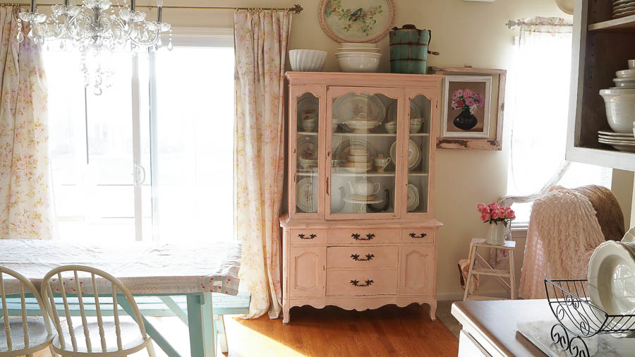 Posh Pink White Lace Cottage Painted cabinet shabby chic chippy paint (43 of 45)
