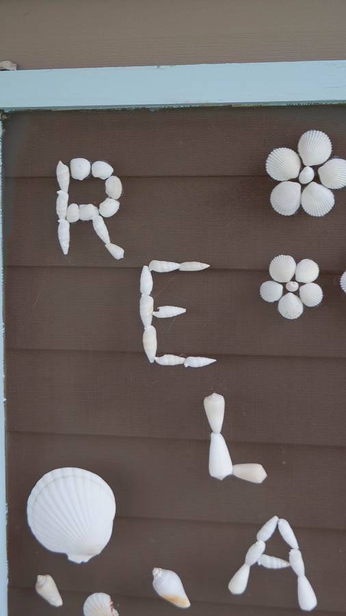 DIY shell art repurposed old screen  (19 of 28)