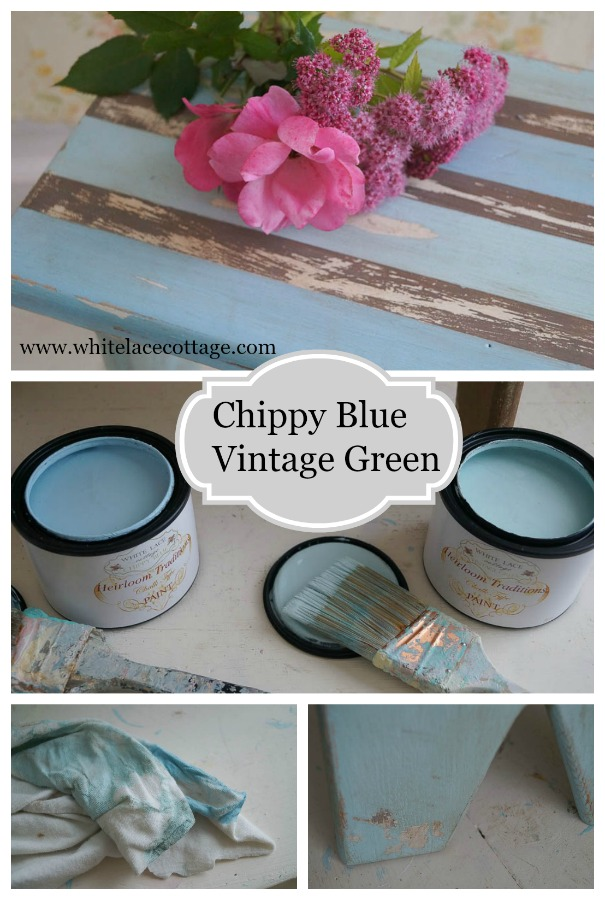 vintage green chippy blue two great colors from white lace cottage