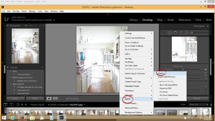 exporting photos in lightroom