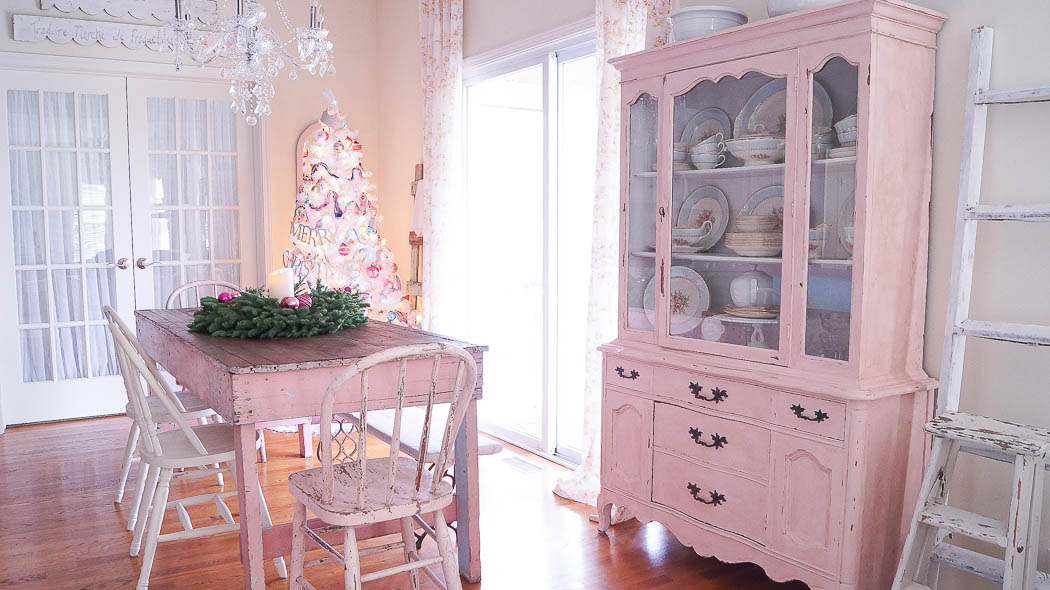 white lace cottage holiday christmas home tour shabby chic
