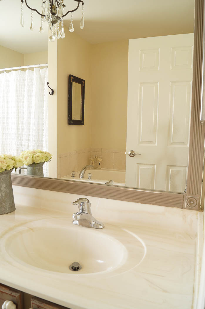 Lovely Heated Tile Floor Bathroom Cost Big Shabby Chic Bath Shelves Rectangular Bathtub Ceramic Paint Bathrooms And More Reviews Old Popular Color For Bathroom Walls BlueBest Hotel Room Bathrooms In Las Vegas DIY Bathroom Mirror Frame Update   White Lace Cottage