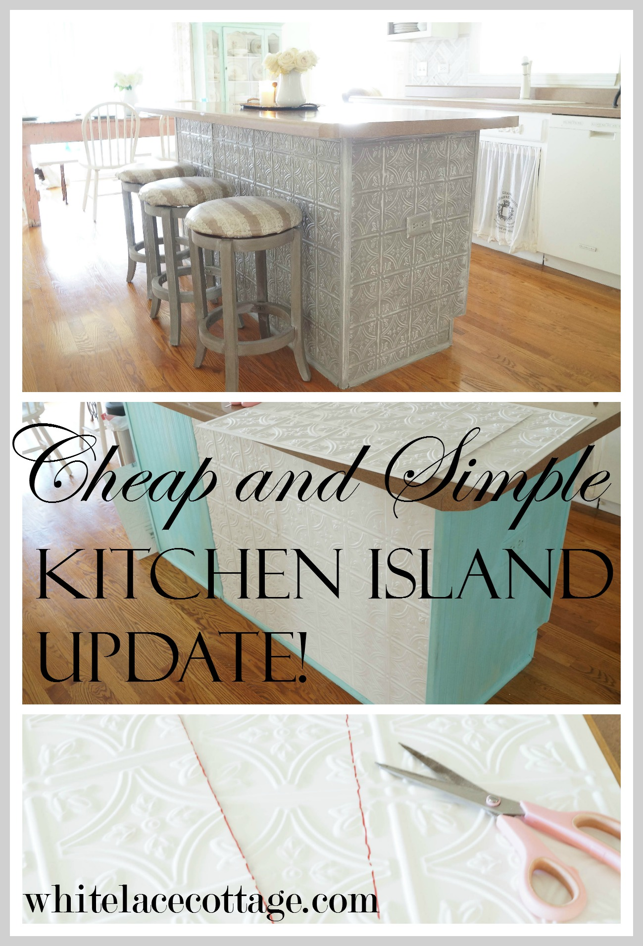Faux Tin Ceiling Tiles Kitchen Island - White Lace Cottage