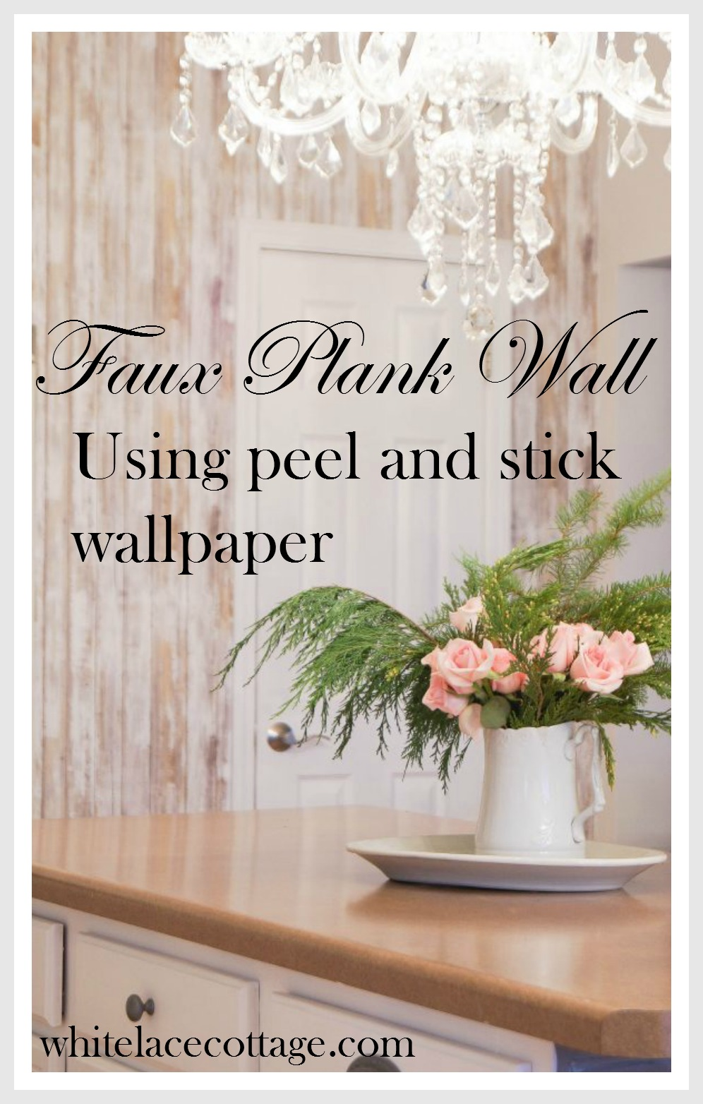 Simple Kitchen Wallpaper accent wall and simple kitchen updates - white lace cottage
