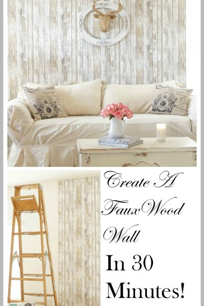 Reusable Wallpaper Faux Wood Accent Wall