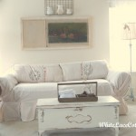 White Sofa Slipcover And A Mantle Change