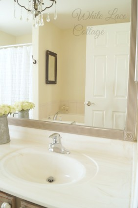 master bathroom framing a builders mirror