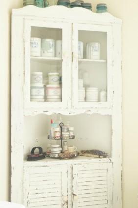 chippy milk paint cabinet