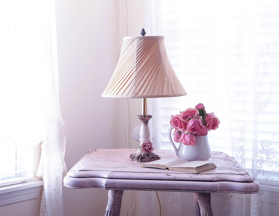 shabby chic chippy pink table-11