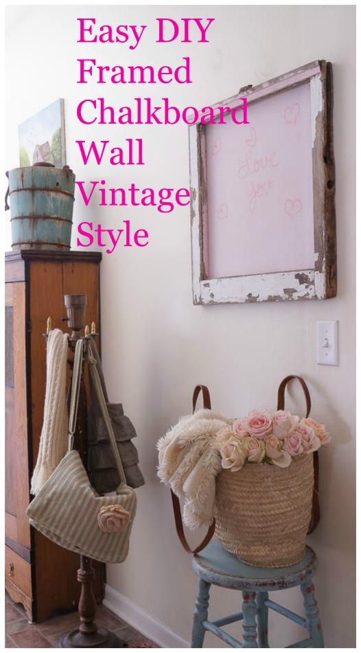 diy vintage framed chalkboard wall vintage style