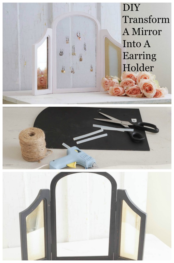 diy transform a mirror into a earring holder