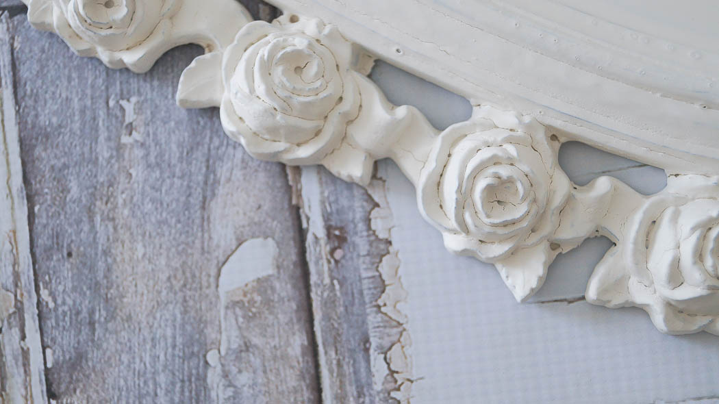 shabby chic rose mirror white lace cottage (3 of 27)