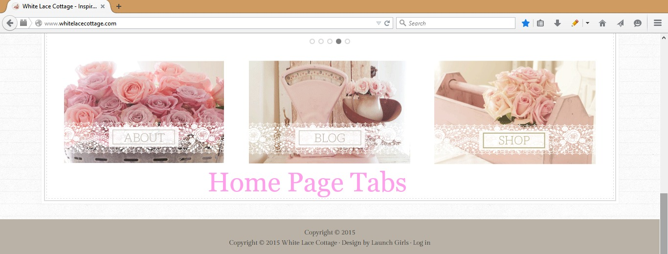 white lace cottage home page tabs