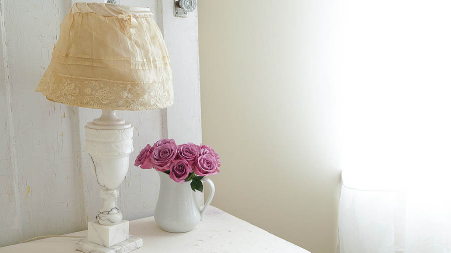 shabby chic inspired lampshade   white lace cottage