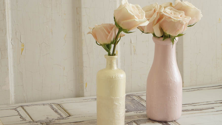 Painting Glass Bottles White Lace Cottage
