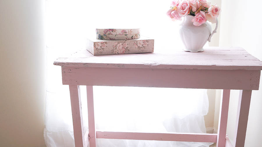 white lace cottage posh pink paint shabby chic chippy pink table (4 of 23)