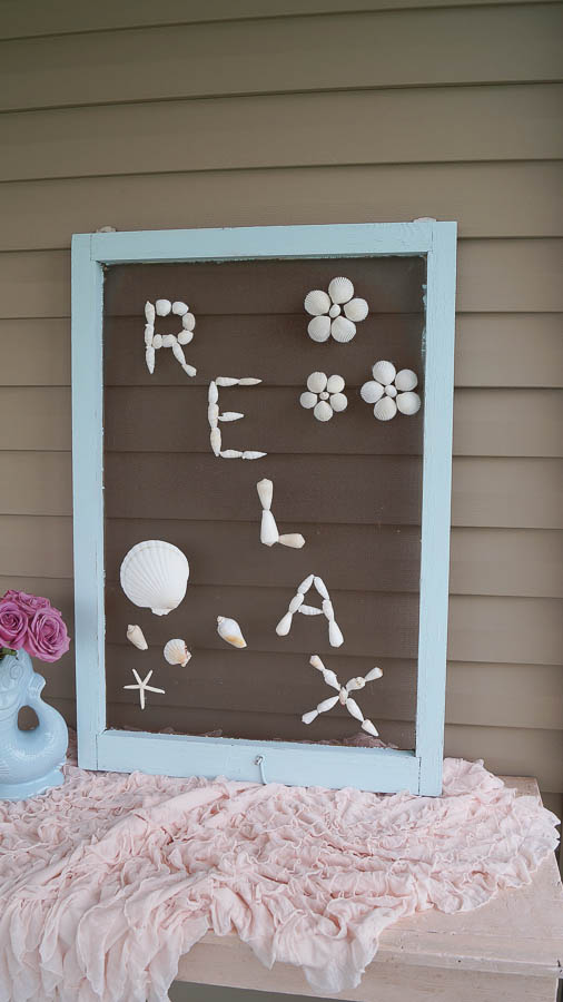 DIY shell art repurposed old screen  (23 of 28)