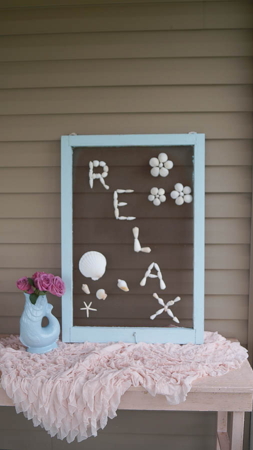 DIY shell art repurposed old screen  (28 of 28)