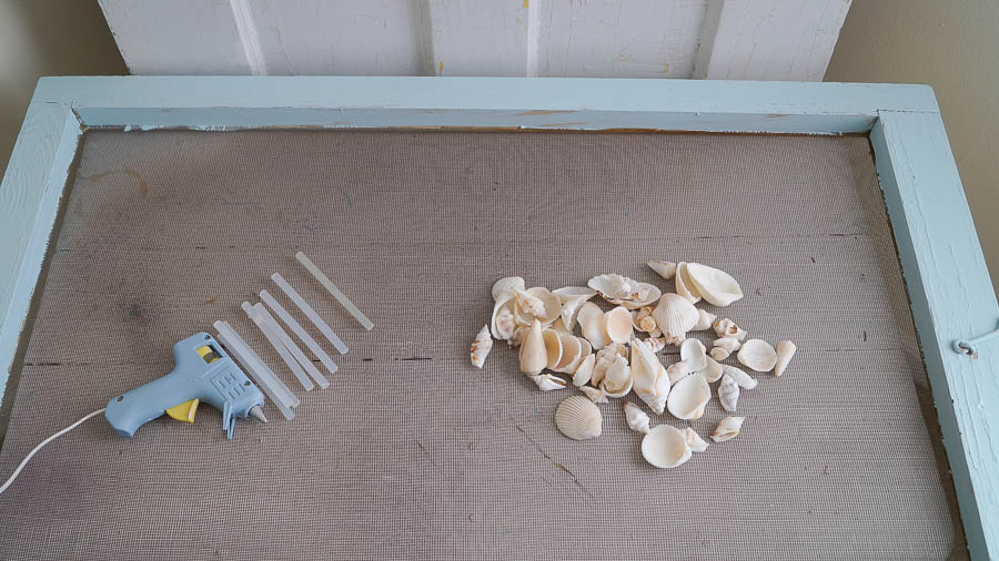 DIY shell art repurposed old screen  (5 of 6)