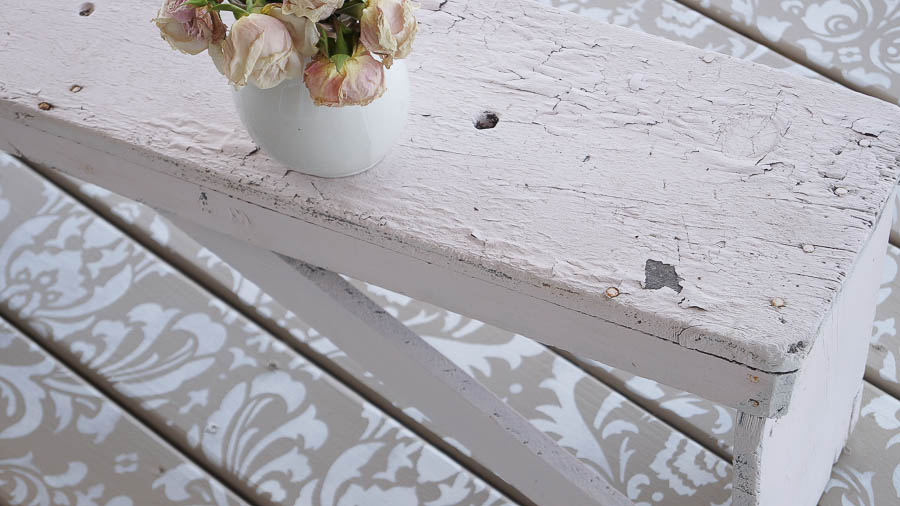 Stencil Painted Deck Floor Using Cutting Edge Stencils Is An Easy Way To Add Style To An Outdoor Space.