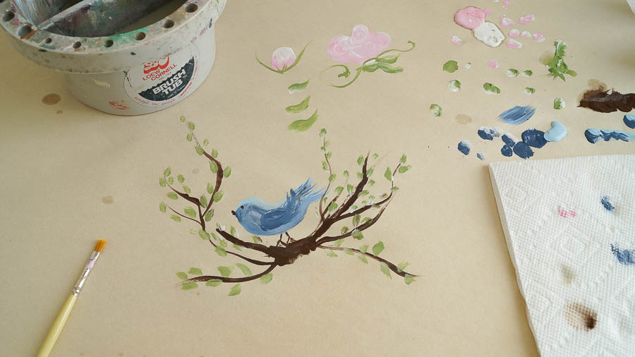 how to paint roses leaves a bird  (36 of 48)