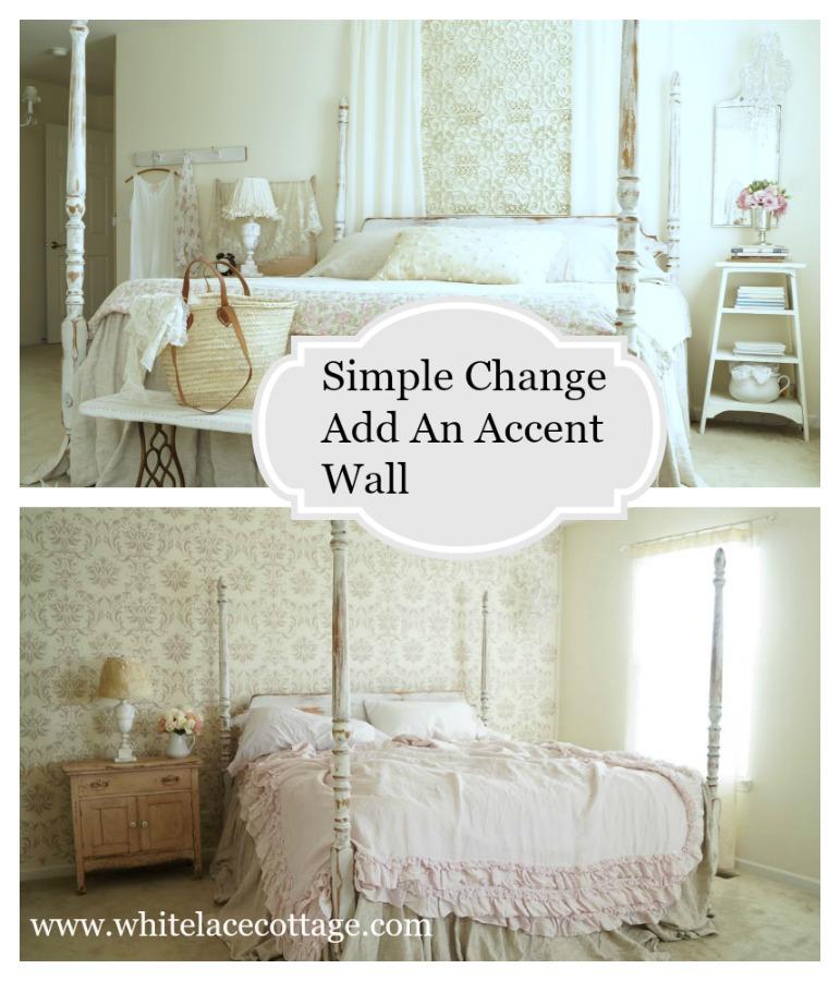 Add an accent wall using a Cutting Edge Stencil Gabrielle Damask