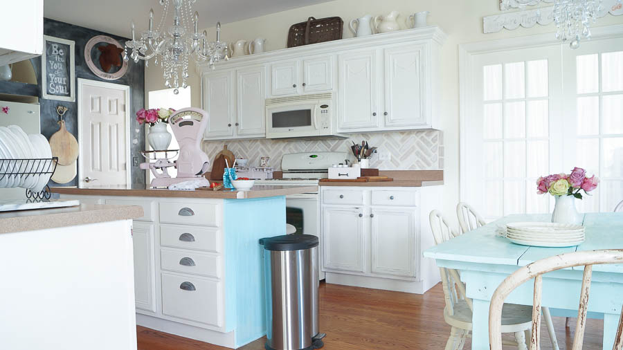 Chalk Painted Kitchen Cabinets Never Again White Lace Cottage - Grey and white painted kitchen cabinets