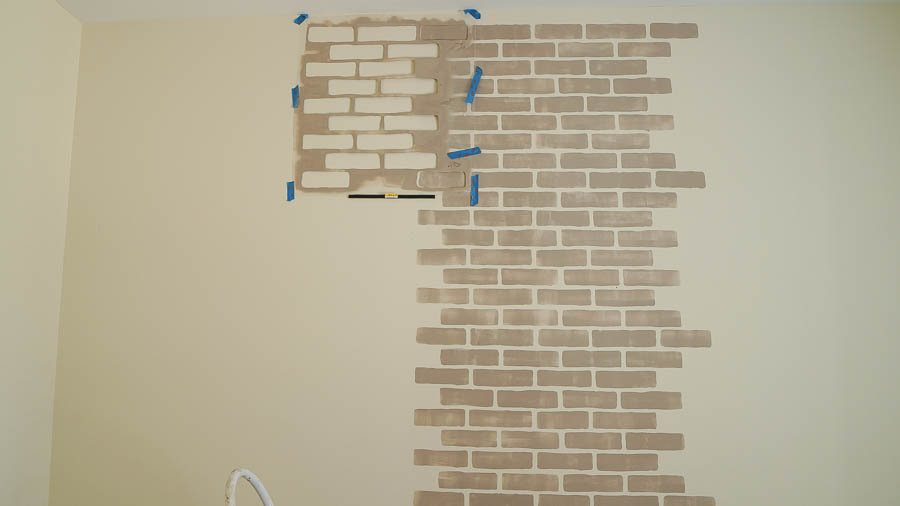 faux brick wall stencil den (8 of 9)