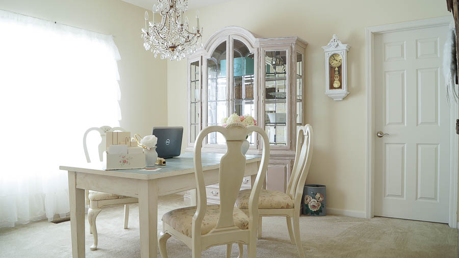 Dining room transformed into a office white lace cottage for Dining room into office