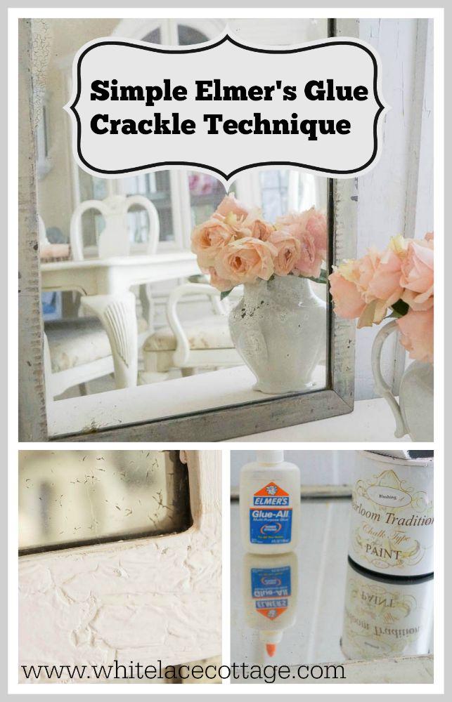 elmer s glue crackle finish white lace cottage
