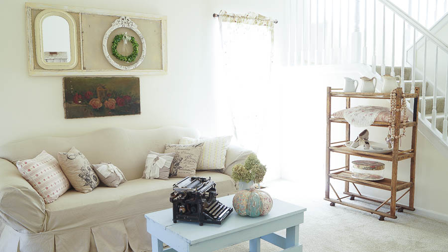 living room changes farmhouse style shabby chic white lace cottage (36 of 76)