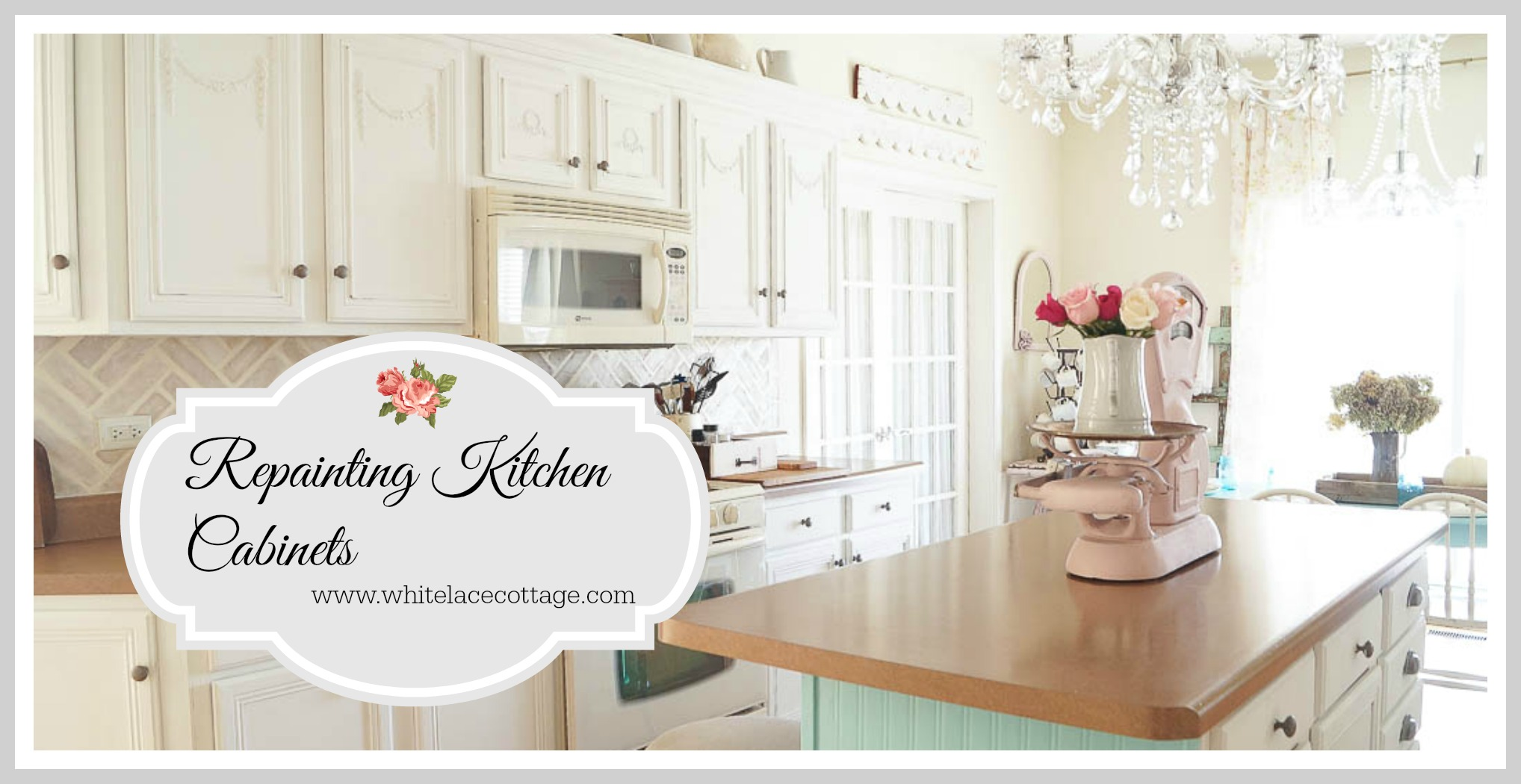 Repainting kitchen cabinets and a giveaway white lace for Repainting white kitchen cabinets