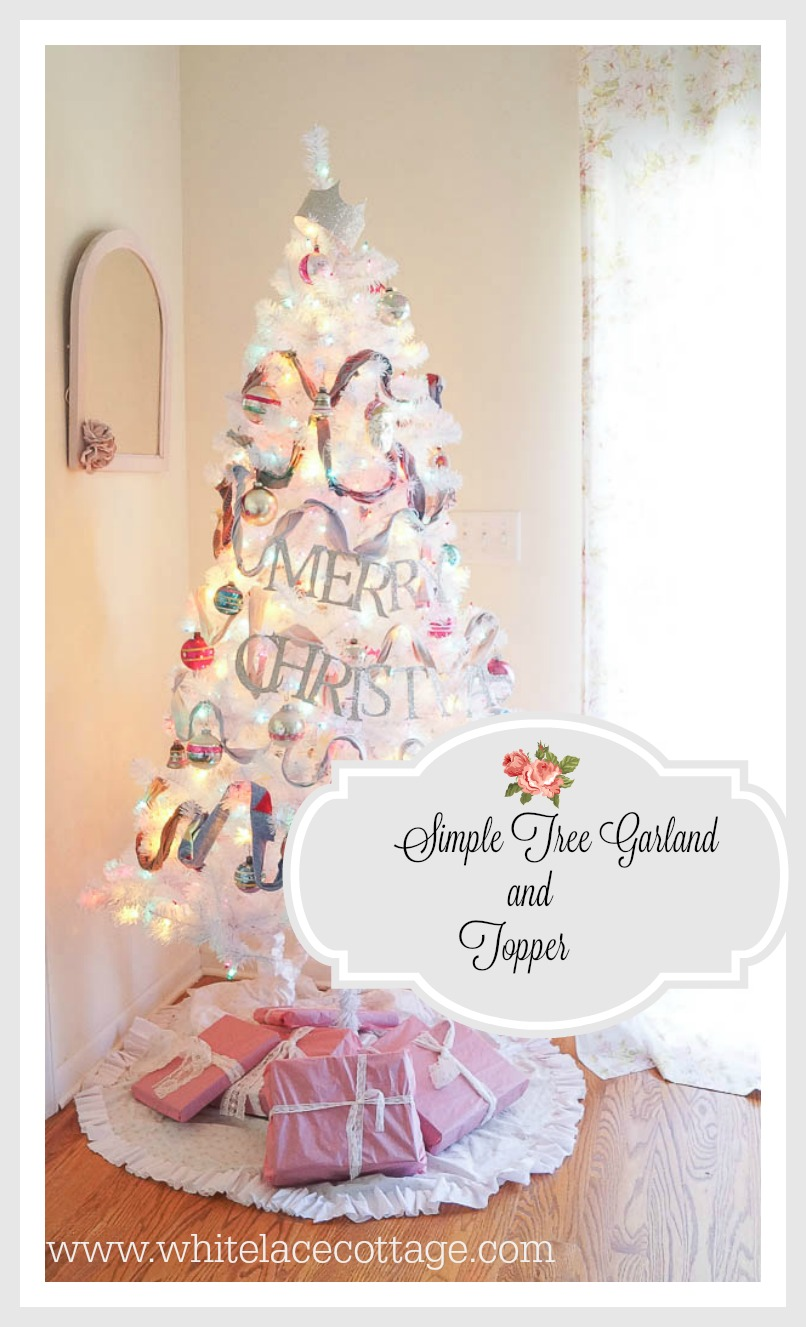 simple tree garland and topper www.whitelacecottage.com