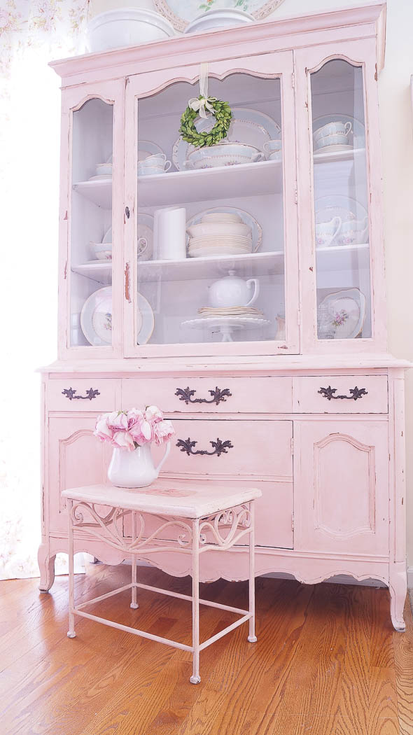 Updating a thrift shop piece adding a transfer posh pink shabby chic-09141
