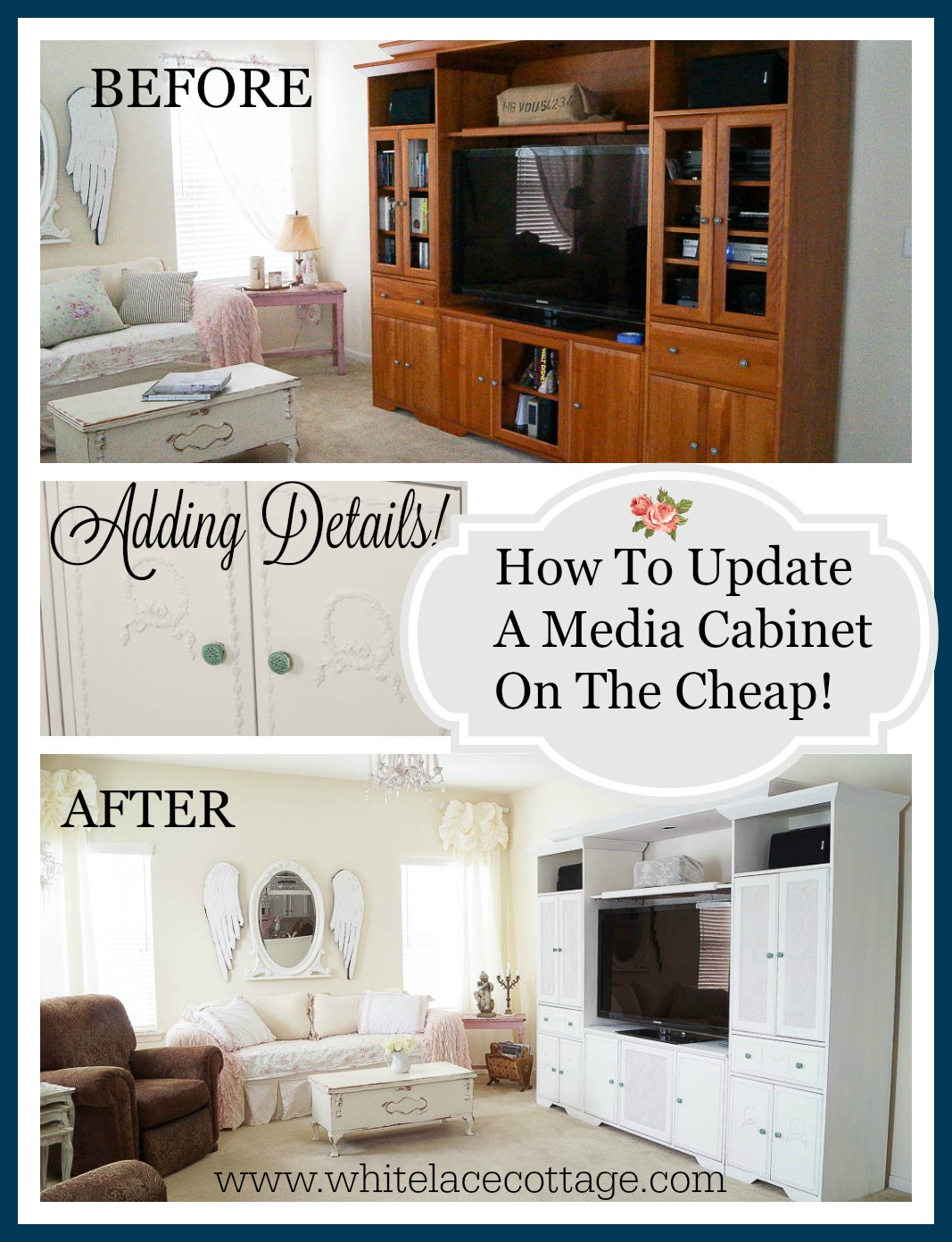 Media cabinet diy makeover white lace cottage for How to update cabinets