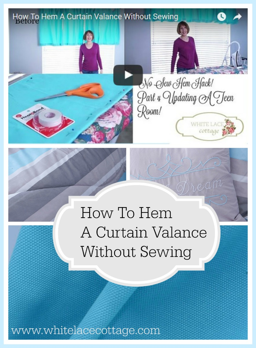 How to hem curtains without sewing white lace cottage How to make a valance without sewing