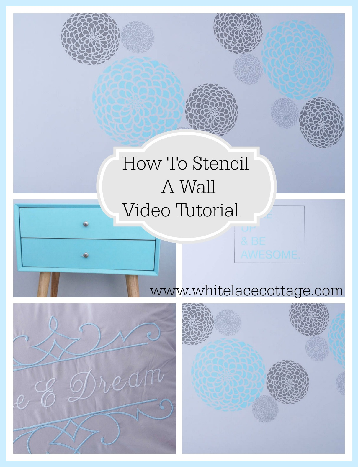 Stencil diy creating an accent wall white lace cottage stencil diy creating an accent wall amipublicfo Gallery