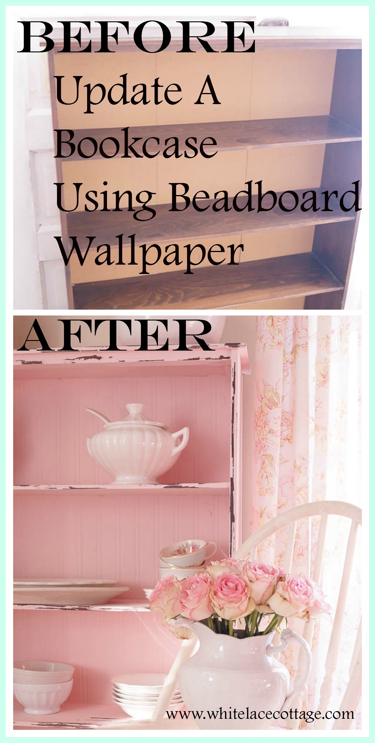 Updating a bookcase with beadboard wallpaper is so simple to do, and a great way to update a cheap piece of furniture!