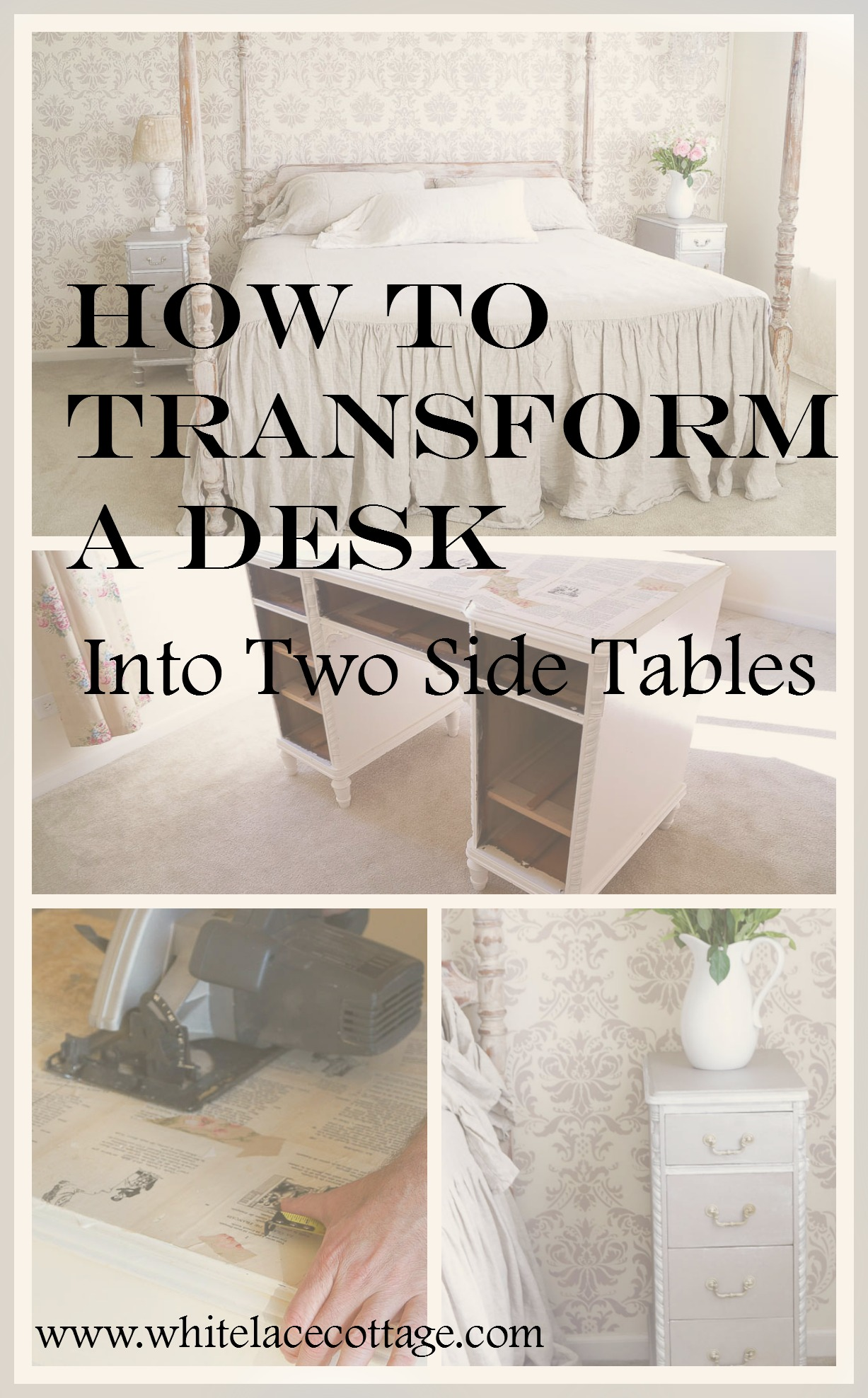 How to transform a desk into two side tables