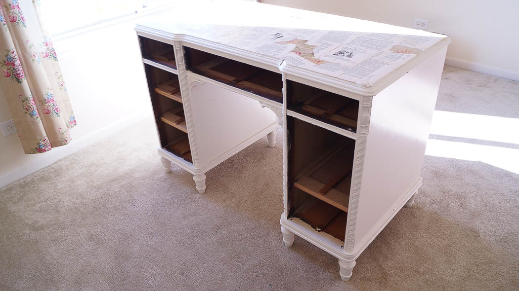 Repurpose a desk into two side tables