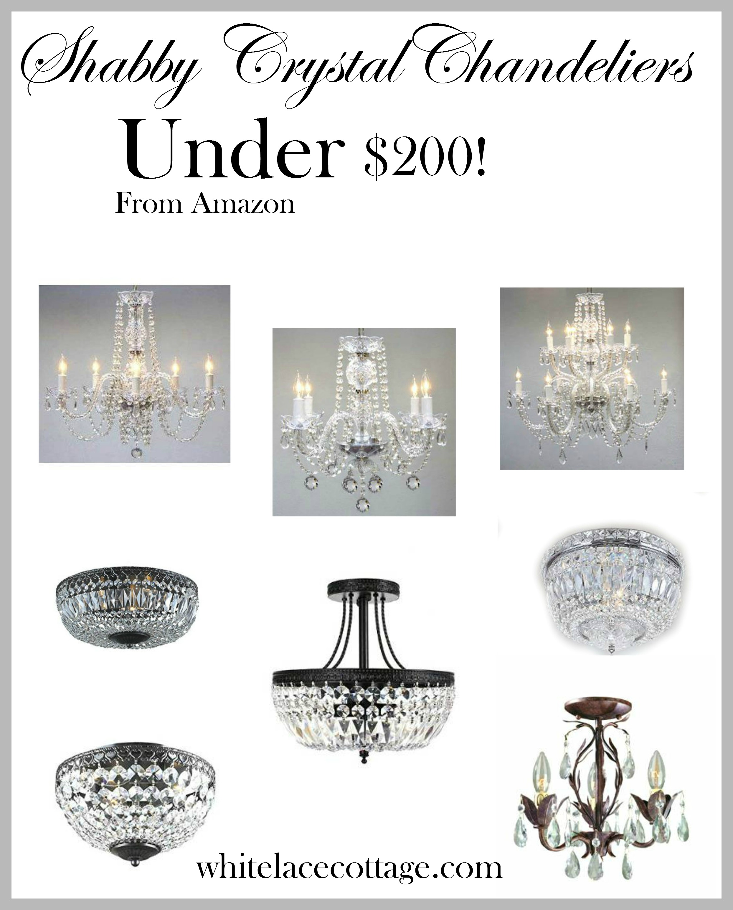 Crystal chandelier ideas for under 200 white lace cottage arubaitofo Choice Image