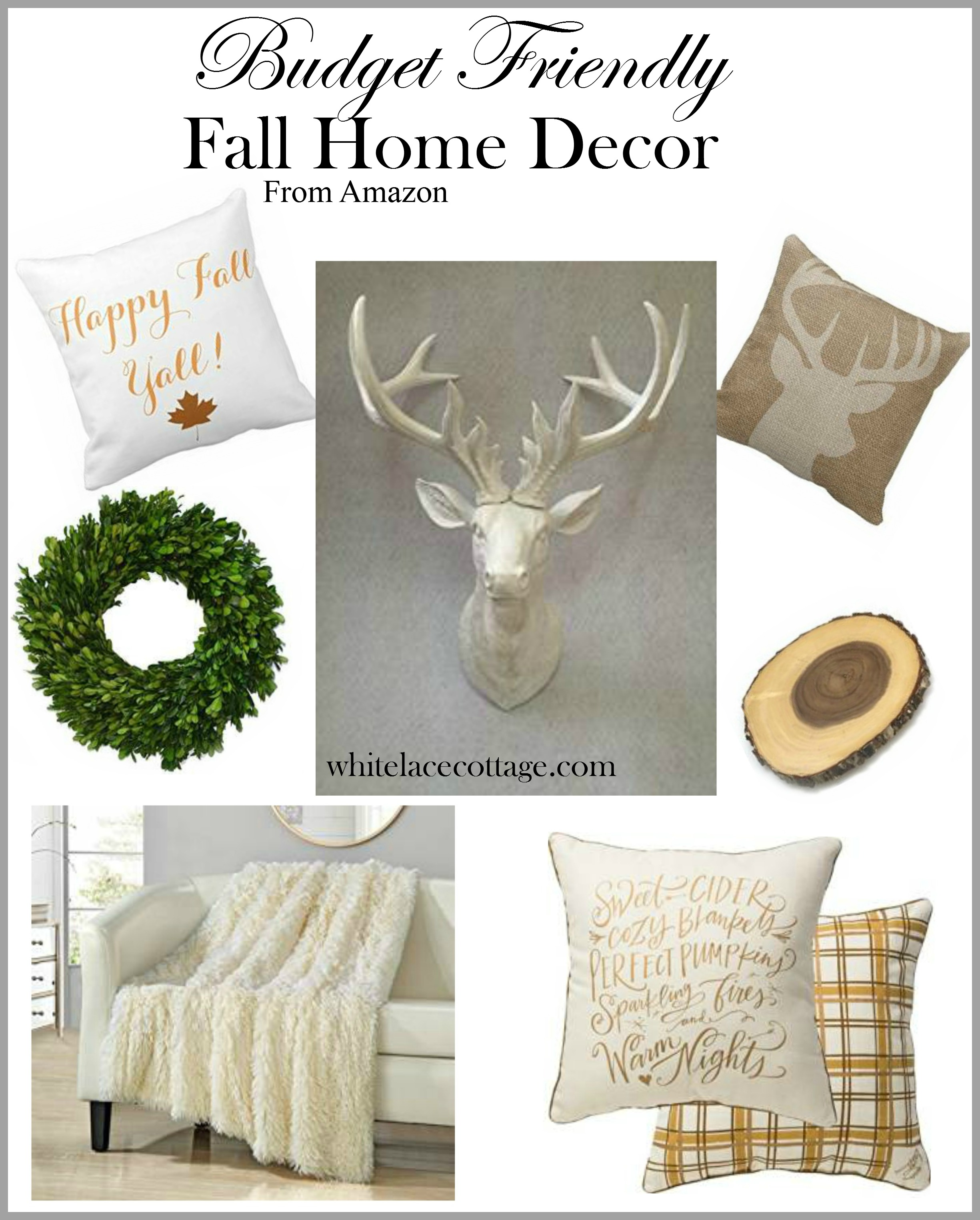 decorating on a budget for fall white lace cottage. Black Bedroom Furniture Sets. Home Design Ideas