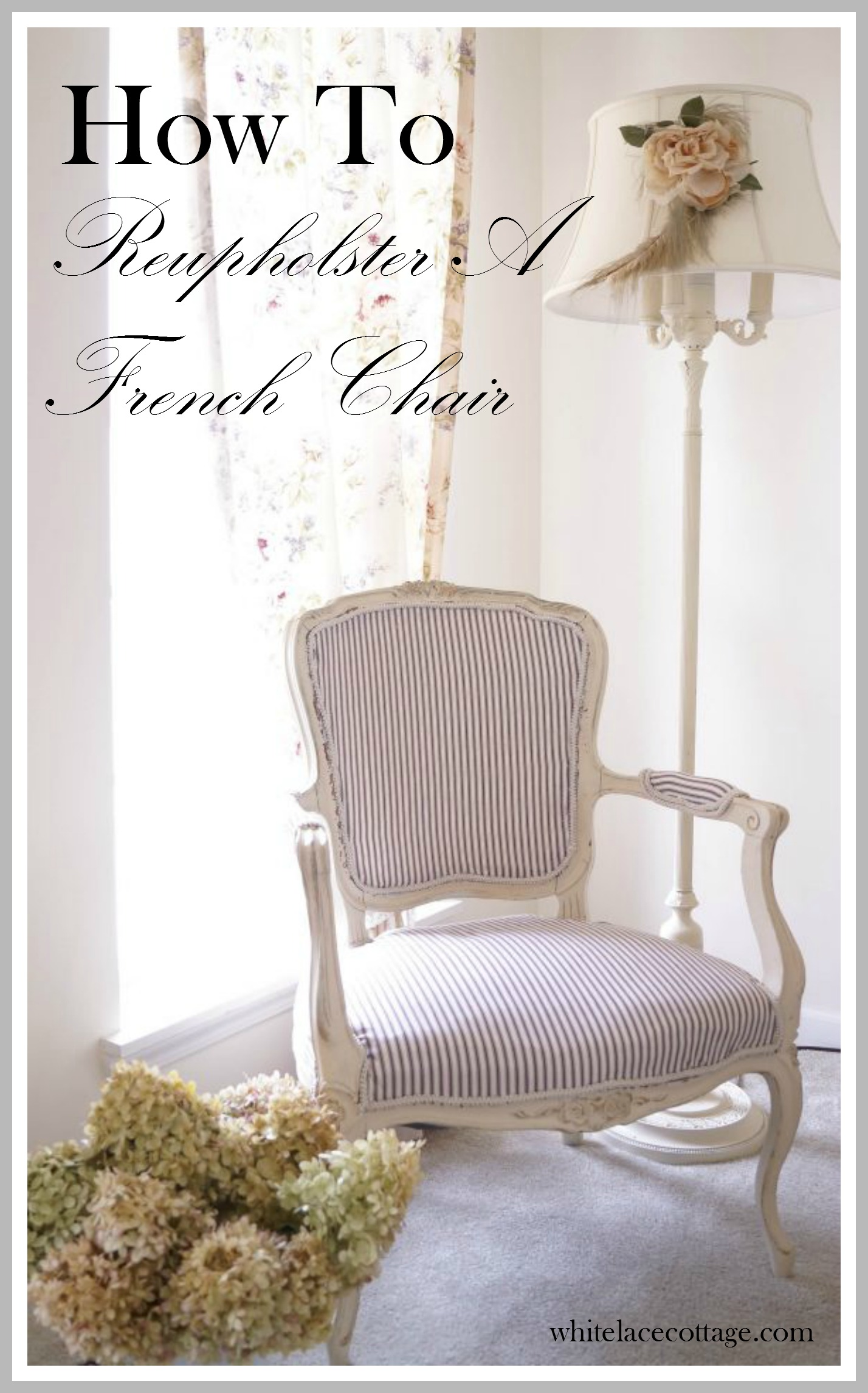 How to easily reupholster a french chair white lace cottage for How to reupholster a chair