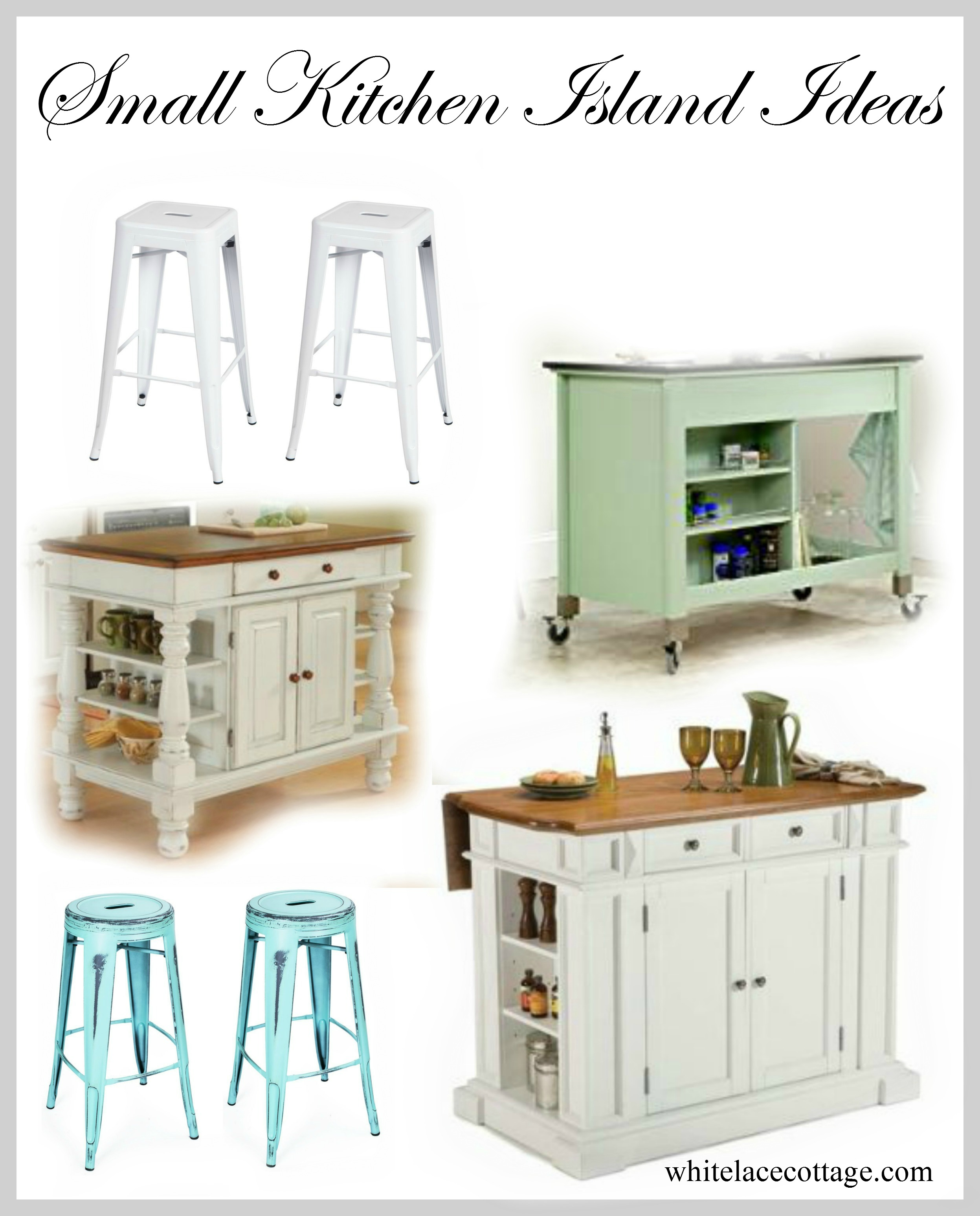 Small kitchen island ideas with seating white lace cottage for Small kitchen island designs