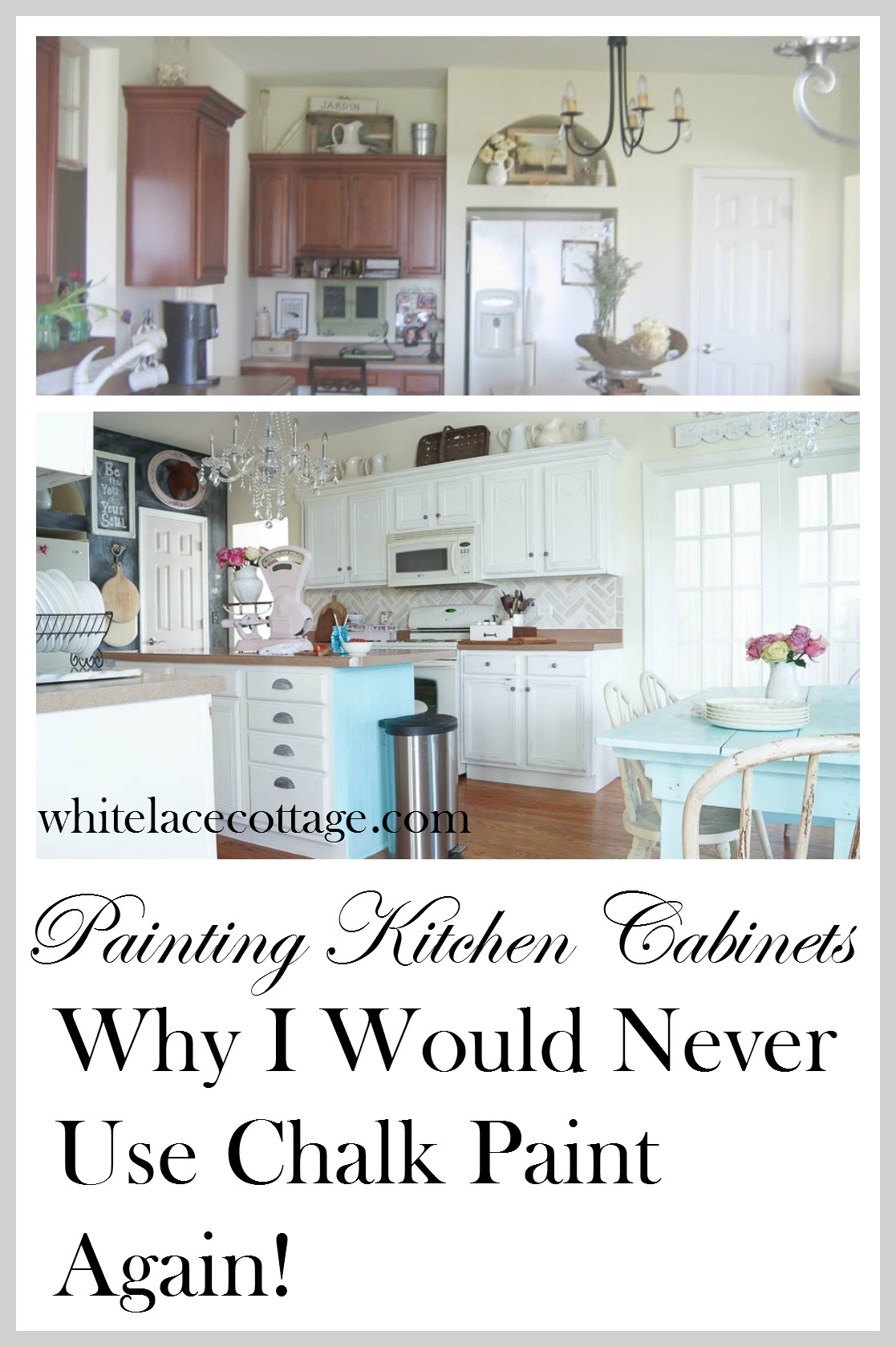Chalk painted kitchen cabinets never again white lace for Chalk paint kitchen cabinets