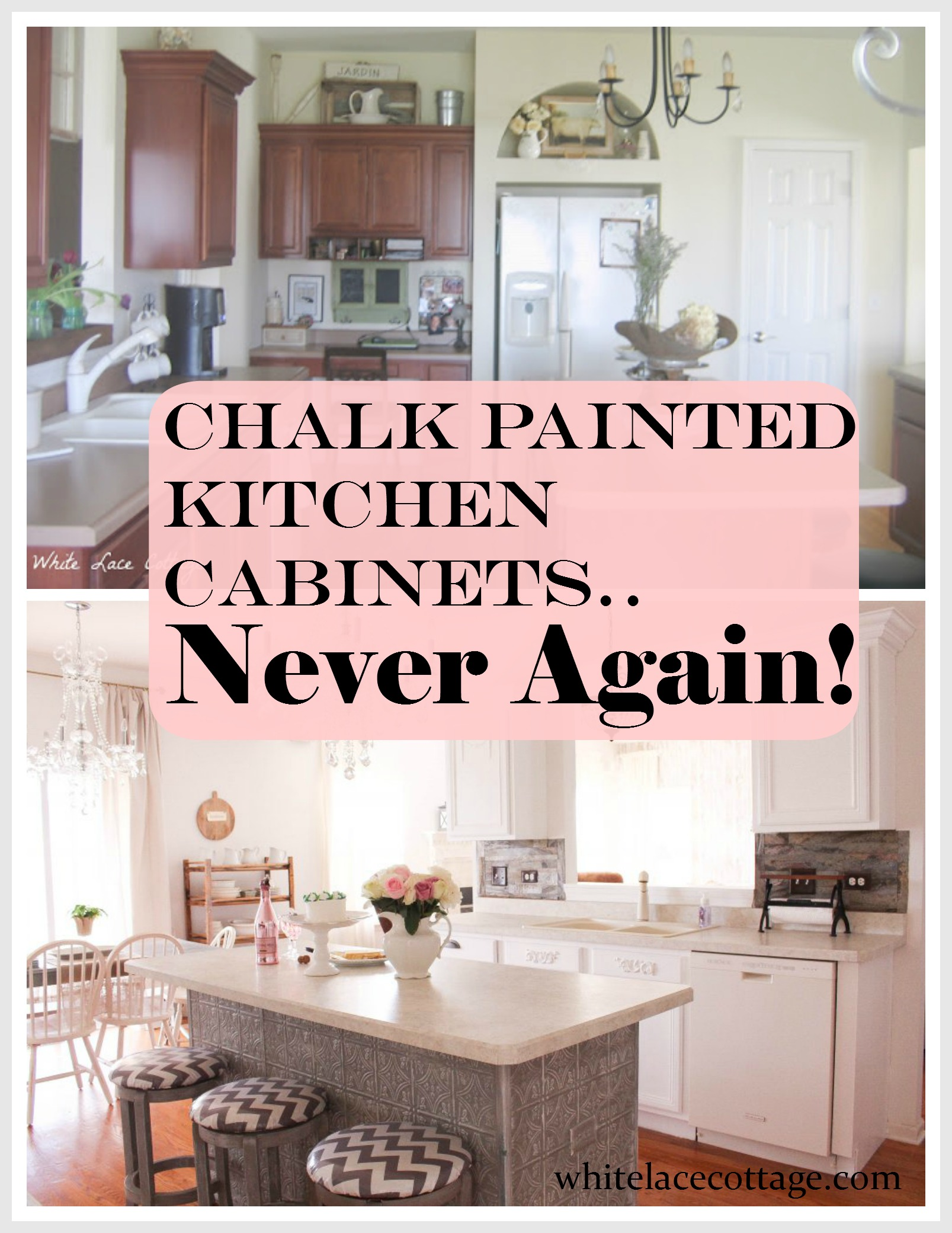 Chalk painted kitchen cabinets never again white lace for How can i update my kitchen cabinets on a budget